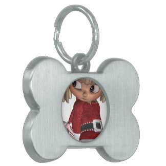Candy Cane Elf Pet Tag
