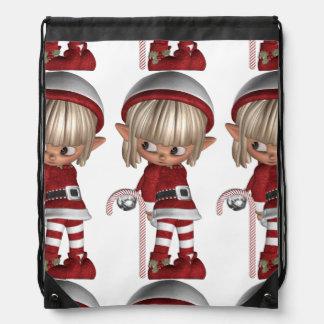 Candy Cane Elf Drawstring Backpack