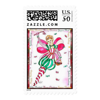 Candy Cane Fairy Postage Stamp