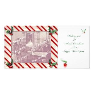 Candy Cane Frame Christmas Photocard Card