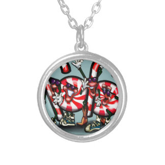 Candy Cane Gang Silver Plated Necklace