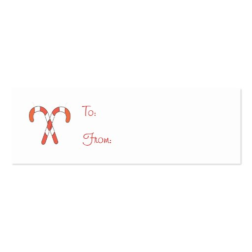 Candy Cane Gift Tag Double-Sided Mini Business Cards (Pack Of 20)