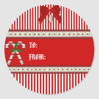 Candy Cane gift tag Round Sticker