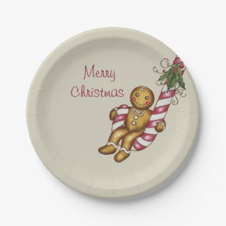 Candy Cane Gingerbread Boy Paper Plates