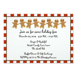 Candy Cane Gingerbread Holiday Party Invitations