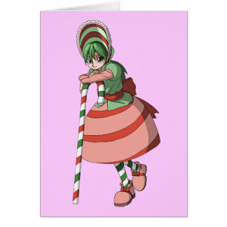 Candy cane girl greeting card