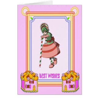 Candy cane girl with cookie houses greeting card