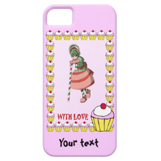 Candy Cane girl with cupcakes iPhone SE/5/5s Case