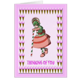 Candy cane girl with ice creams greeting card