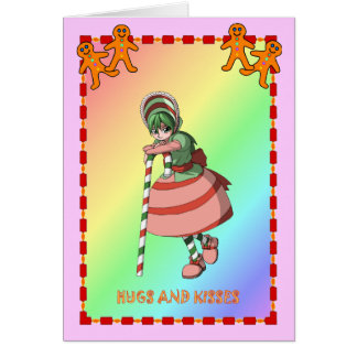 Candy cane girl with the gingerbread men greeting card