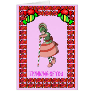 Candy cane girl with toffees greeting card