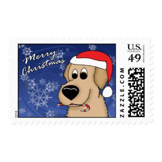 Candy Cane Golden Retriever Christmas Stamps