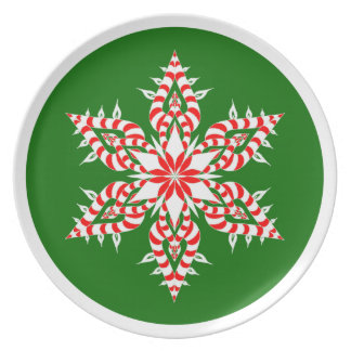 Candy Cane Green Snowflake - Plate
