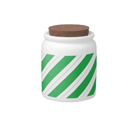 Candy Cane Green Stripes Candy Jars