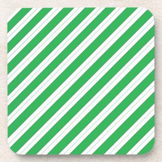 Candy Cane Green Stripes Coaster