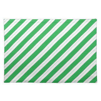 Candy Cane Green Stripes Placemat