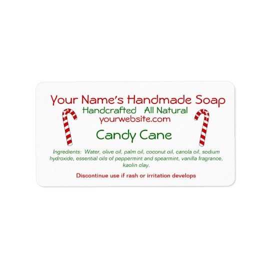 Candy Cane Handmade Christmas Soap Labels Template  Zazzle