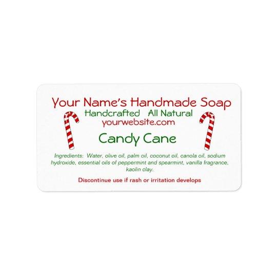 Candy Cane Handmade Christmas Soap Labels Template  ZazzleCom
