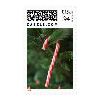 Candy cane hanging on Christmas tree Postage