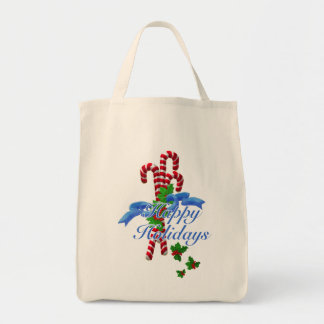 Candy Cane Happy Holidays Grocery Tote