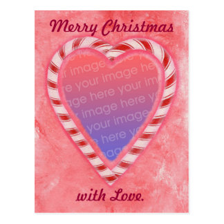 Candy Cane Heart Add Photo Christmas Postcards