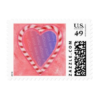 Candy Cane Heart, add photo, postage stamps