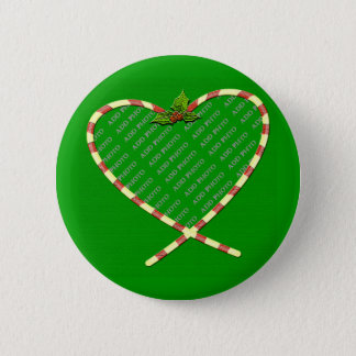 Candy Cane Heart Add Your Photo Frame Pinback Button
