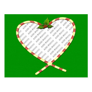 Candy Cane Heart Add Your Photo Frame Postcard