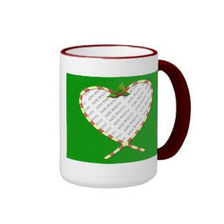 Candy Cane Heart Add Your Photo Frame Ringer Mug