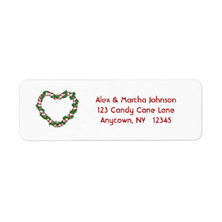 Candy Cane Heart Address Label