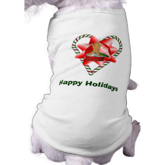Candy Cane Heart Christmas Holiday Dog Shirt