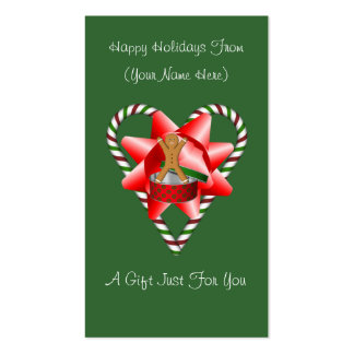 Candy Cane Heart Christmas Holiday Gift Card Tag Double-Sided Standard Business Cards (Pack Of 100)