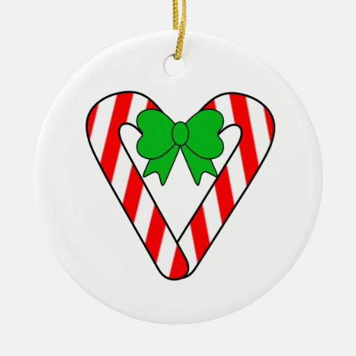 Candy Cane Heart Christmas Holiday Ornament