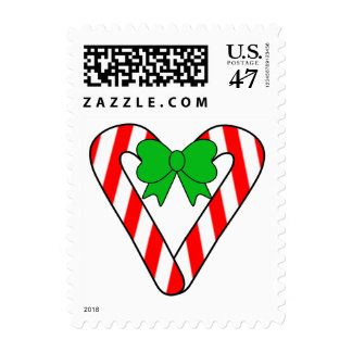 Candy Cane Heart Holiday Custom Postage