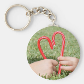 Candy Cane Heart Key Chain