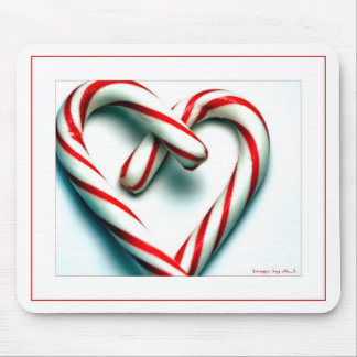 Candy Cane Heart Mouse Pad