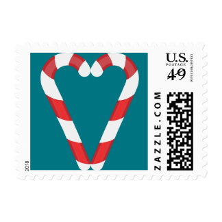 candy cane heart postage postal stamps
