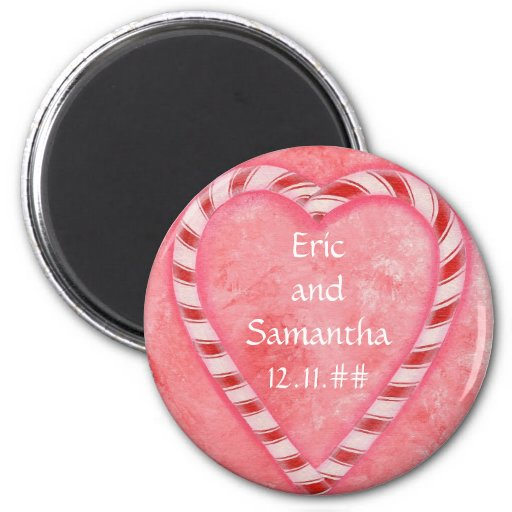 Candy Cane Heart Save the date wedding magnets