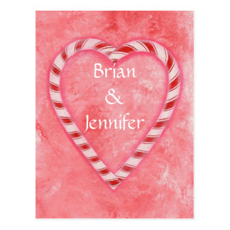 Candy Cane Heart Wedding Invitation Postcards