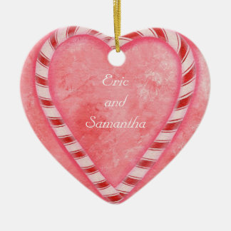 Candy Cane Heart Wedding Ornament, Personalized