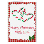 Candy Cane Hearts Card