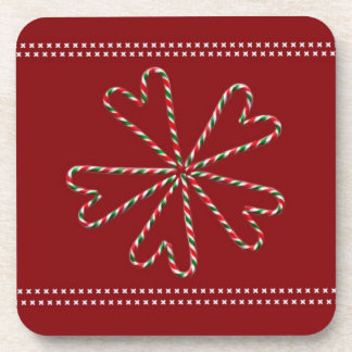 Candy Cane Hearts Drink Coaster