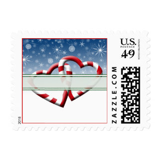 Candy Cane Hearts Custom Postage