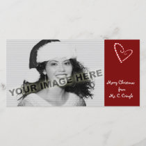 Candy Cane Hearts Customizable Photo Card