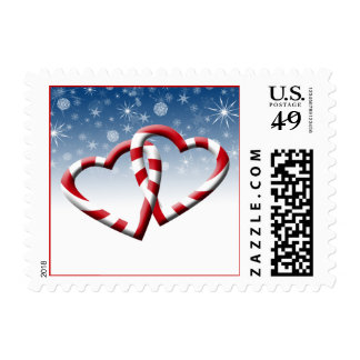 Candy Cane Hearts Wedding Postage