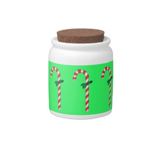 Candy Cane Holiday Christmas Candy Jar