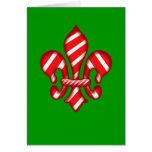Candy Cane Holiday Fleur de lis Greeting Card