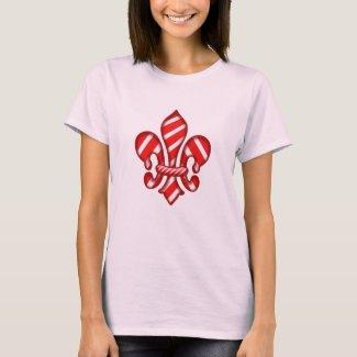 Candy Cane Holiday Fleur de lis t-shirt