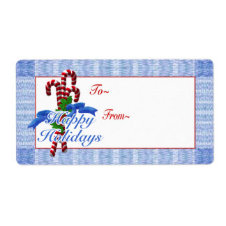Candy Cane Holiday Gift Tags - shipping labels
