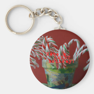 Candy Cane Holiday Greetings Keychain